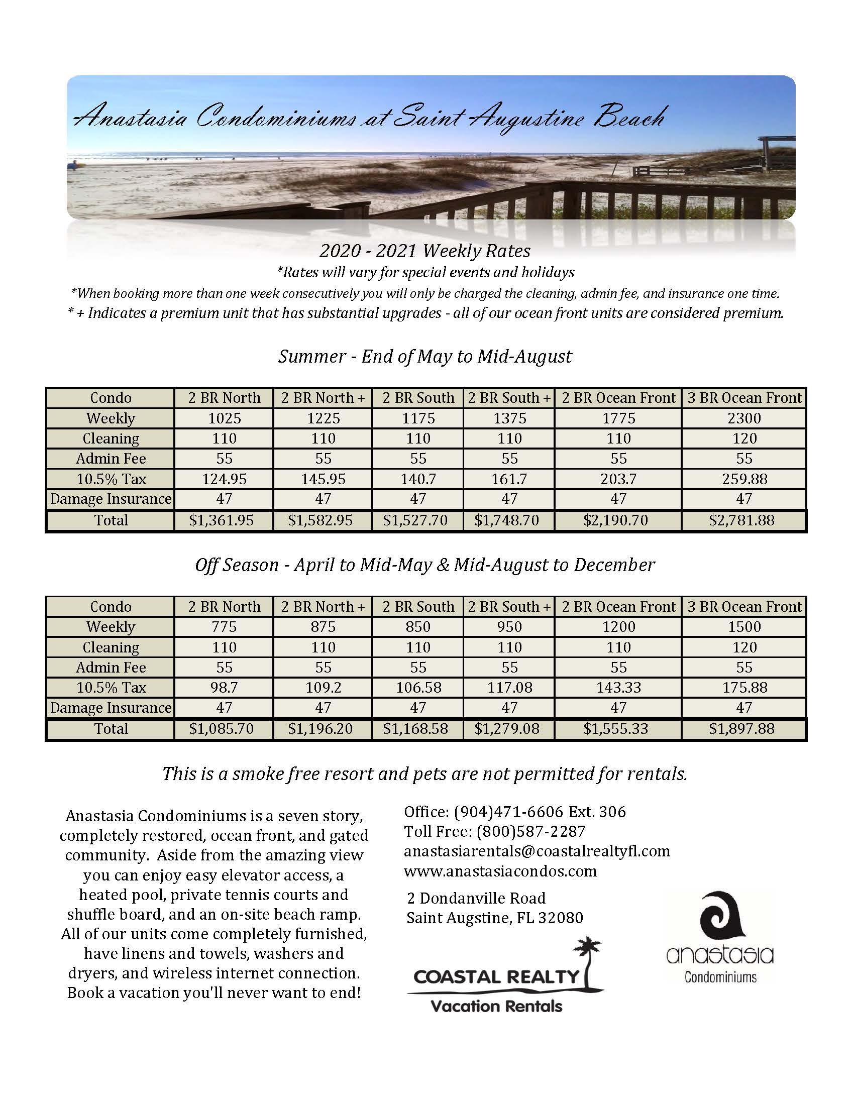 2020 2021 weekly rates at anastasia condominiums