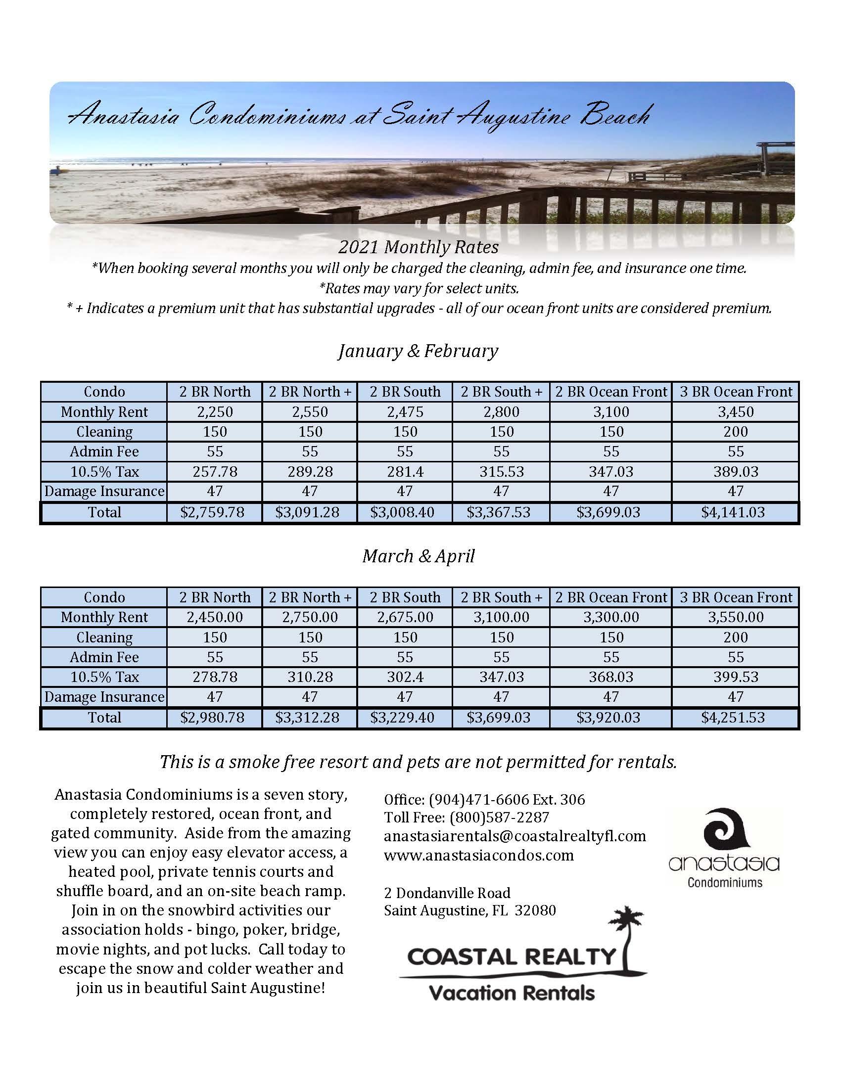 2020 2021 monthly rates at anastasia condominiums